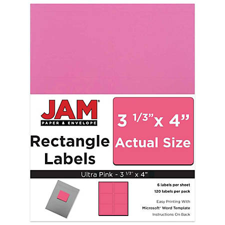 "JAM Paper® Mailing Address Labels, 302725799, 4"" x 3 5/16"", Pink, Pack Of 120"