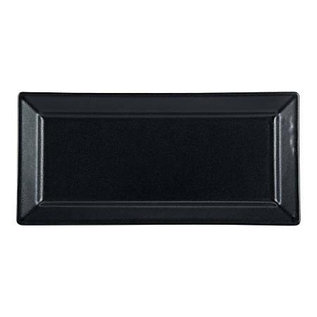 "Foundry Ceramic Rectangular Platters, 14 1/4"" x 6 3/4"", Black, Pack Of 6 Platters"