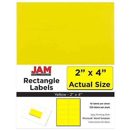 "JAM Paper® Rectangular Mailing Address Labels, 302724410, 2"" x 4"", Yellow, Pack Of 120"