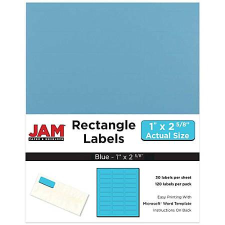 "JAM Paper® Mailing Address Labels, 302725762, 2 5/8"" x 1"", Blue, Pack Of 120"