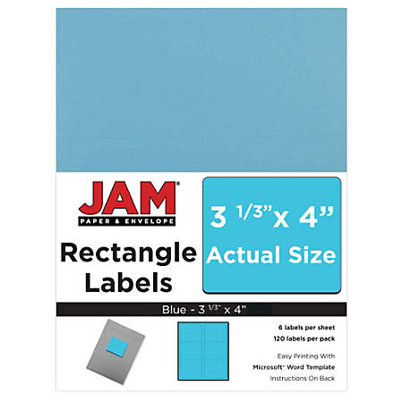 "JAM Paper® Mailing Address Labels, 302725770, 4"" x 3 5/16"", Blue, Pack Of 120"