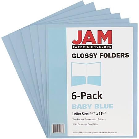 "JAM Paper® Glossy 2-Pocket Presentation Folders, 9 1/2"" x 11 1/2"", 1"" Capacity, Baby Blue, Pack Of 6"