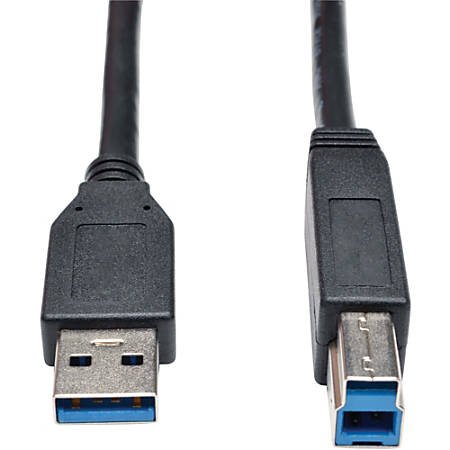 """Tripp Lite 3ft USB 3.0 SuperSpeed Device Cable 5 Gbps A Male to B Male Black - USB for Hard Drive, Printer - 3 ft - 1 x Type A Male USB - 1 x Type B Male USB - Black"""""""