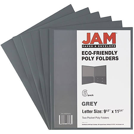 "JAM Paper® 2-Pocket Eco-Friendly Poly Folders With Clasps, 9 1/2"" x 11 1/2"", 1"" Capacity, Gray, Pack Of 6"