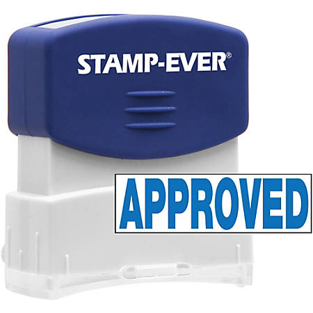 "Stamp-Ever Pre-inked APPROVED Stamp - Message Stamp - ""APPROVED"" - 0.56"" Impression Width x 1.69"" Impression Length - 50000 Impression(s) - Blue - 1 Each"