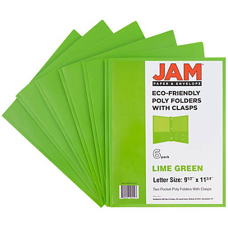 "JAM Paper® 2-Pocket Eco-Friendly Poly Folders With Clasps, 9 1/2"" x 11 1/2"", 1"" Capacity, Lime Green, Pack Of 6"