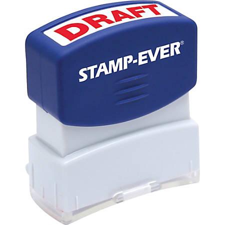 "Stamp-Ever Pre-inked Red DRAFT Stamp - Message Stamp - ""DRAFT"" - 0.56"" Impression Width x 1.69"" Impression Length - 50000 Impression(s) - Red - 1 Each"