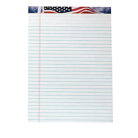 """TOPS™ American Pride™ Writing Tablet, 8 1/2"""" x 11 3/4"""", 16 Lb, Legal Rule, White, 50 Sheets Per Pad, Pack Of 12 Pads"""