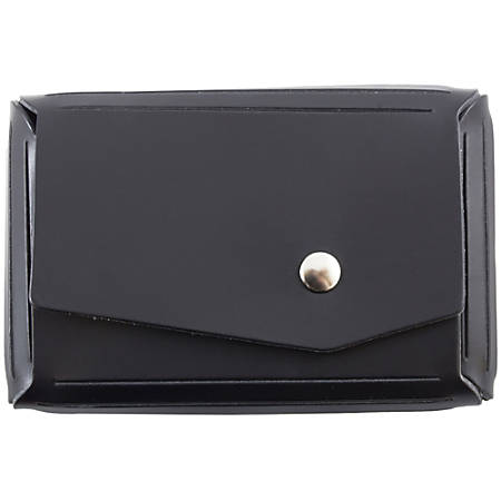 "JAM Paper® Leather Business Card Case, Angular Flap, 2 1/2"" x 4"" x 3/4"", Black"