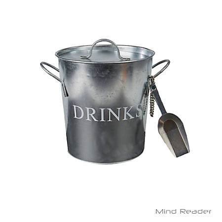 """Mind Reader Metal Ice Bucket With Scooper, 8 1/8""""H x 7 3/4""""W x 7 3/4""""D, Silver"""