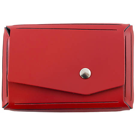 """JAM Paper® Leather Business Card Case, Angular Flap, 2 1/2"""" x 4"""" x 3/4"""", Red"""