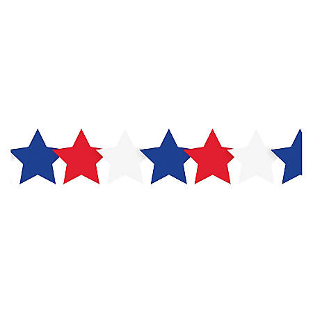 """Hygloss Patriotic Stars Border Strips - 12 (Patriotic Stars) Shape - Damage Resistant, Durable, Long Lasting - 36"""" Height x 3"""" Width - Assorted - 12 / Pack"""