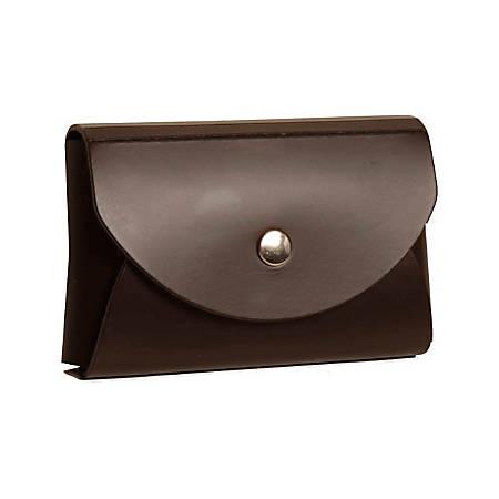 "JAM Paper® Leather Business Card Case, Round Flap, 2 1/4"" x 3 1/2"" x 3/4"", Dark Brown"