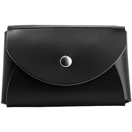 "JAM Paper® Leather Business Card Case, Round Flap, 2 1/4"" x 3 1/2"" x 3/4"", Black"