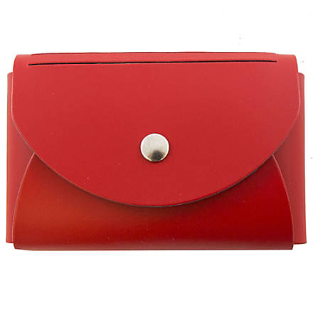 """JAM Paper® Leather Business Card Case, Round Flap, 2 1/4"""" x 3 1/2"""" x 3/4"""", Red"""