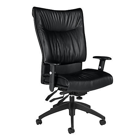 "Global® Softcurve™ Leather High-Back Multi-Tilter Executive Chair, 45 1/2""H x 26""W x 27""D, Black"