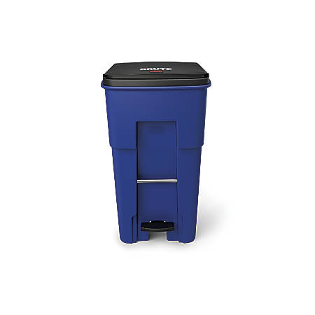 Rubbermaid® Commercial BRUTE® Rectangular Polyethylene Rollout Bin, Step-On, 65 Gallons, Blue