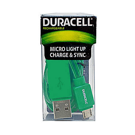 Duracell® Light Up Micro USB Cable, 3', Green, LE2247