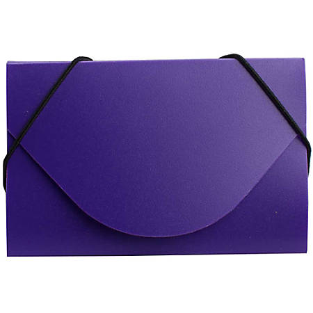 """JAM Paper® Plastic Business Card Case With Round Flap, 3 1/2"""" x 2 1/4"""" x 1/4"""", Purple"""