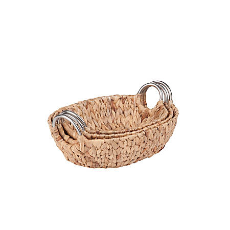 Honey-Can-Do Water Hyacinth Baskets, Oval, Natural/Brown, Pack Of 3