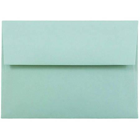 "JAM Paper® Booklet Envelopes With Gummed Closure, 4 Bar A1, 3 5/8"" x 5 1/8"", Aqua Blue, Pack Of 25"