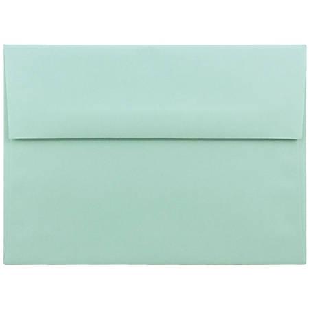 "JAM Paper® Booklet Invitation Envelopes, A7, 5 1/4"" x 7 1/4"", Aqua Blue, Pack Of 25"