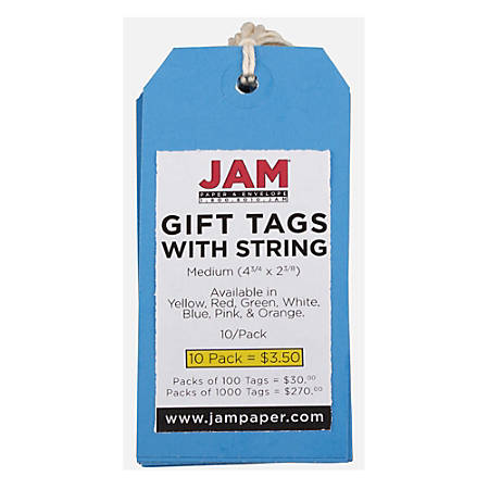 "JAM Paper® Gift Tags, 4 3/4"" x 2 3/8"", Blue, Pack Of 10"