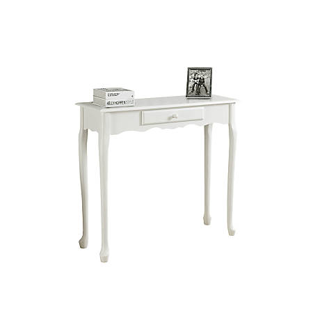 Monarch Specialties Console Table, Scalloped, Single Drawer , Antique White