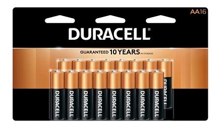 Duracell® Coppertop Alkaline AA Batteries, Pack Of 16 Batteries Item #  242237