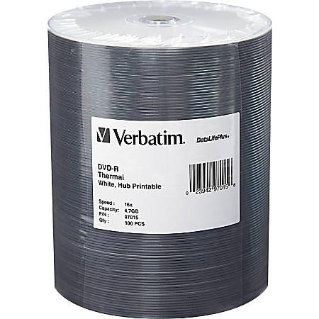 Verbatim DVD-R 4.7GB 16X DataLifePlus White Thermal Printable, Hub Printable - 100Pk Tape Wrap