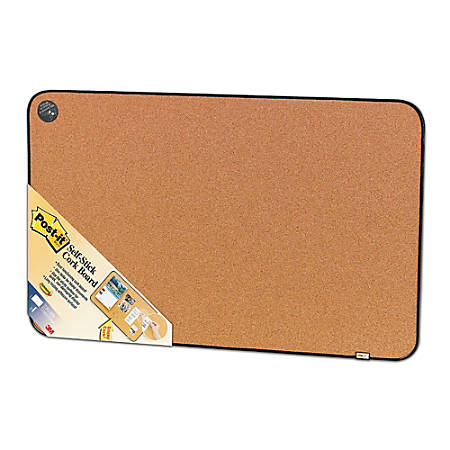 "Post-it® Sticky Cork Board, 18"" x 22"", Tan Board, Black Frame"
