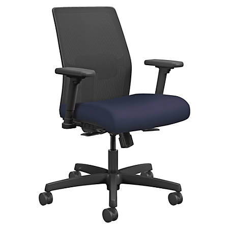 "HON Ignition Mesh Back Task Chair - Fabric Navy Seat - Fabric Back - Black Frame - 5-star Base - 19"" Seat Width x 18"" Seat Depth - 26"" Width x 26.5"" Depth x 40.5"" Height"