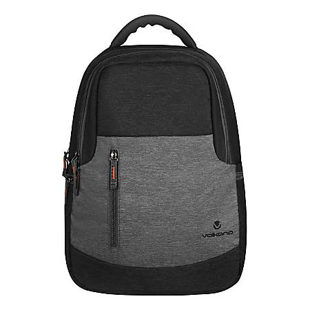 "Volkano Breeze Backpack With 15.6"" Laptop Compartment, Black/Gray"