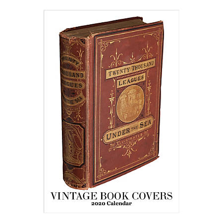 """Retrospect Vintage Book Covers Monthly Wall Calendar, 19"""" X 12-1/2"""", January To December 2020, YC 036-20"""