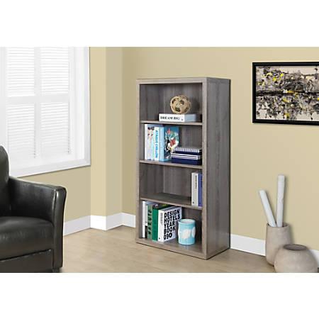 Monarch Specialties 3-Shelf Adjustable Bookcase, Dark Taupe