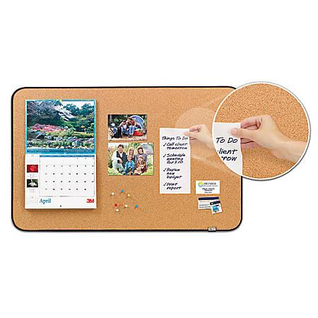 "Post-it® Sticky Cork Board, 22"" x 36"", Tan Board, Black Frame"