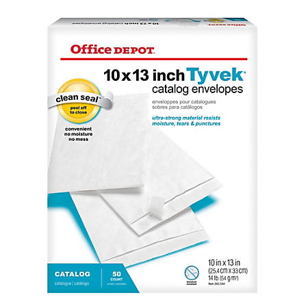 "Office Depot® Brand Clean Seal™ Tyvek® Envelopes, 10"" x 13"", White, Box Of 50"