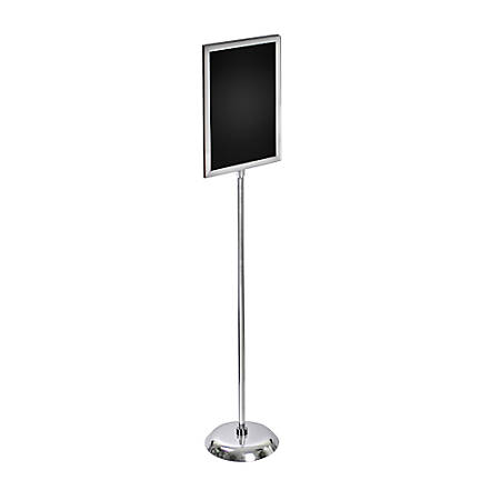 "Azar Displays 2-Sided Slide-In Frame Sign Holder With Metal Pedestal Stand, 17"" x 11"", Silver"