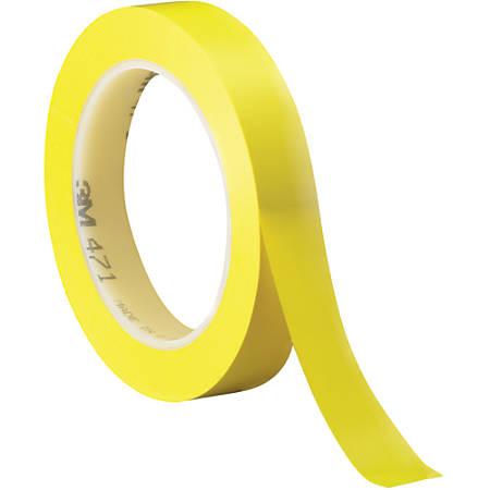 "3M™ 471 Vinyl Tape, 3"" Core, 0.5"" x 36 Yd., Yellow, Case Of 3"