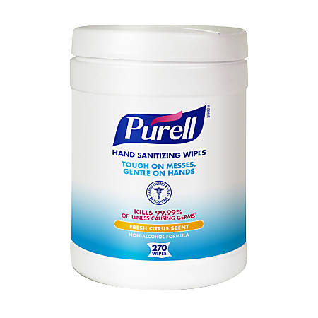 PURELL® Hand Sanitizing Wipes, Fresh Citrus Scent, White, 270 Wipes Per Canister, Pack Of 6 Canisters