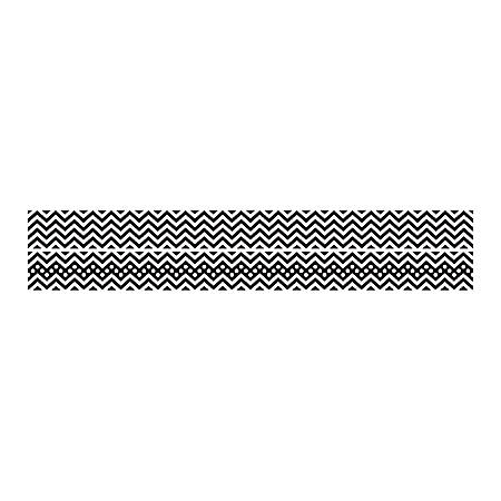 "Barker Creek Double-Sided Straight-Edge Border Strips, 3"" x 35"", Chevron Black, Pack Of 12"