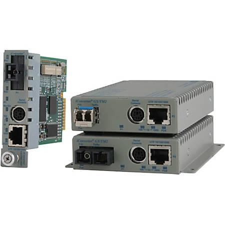 Omnitron Systems 10/100/1000BASE-T UTP to 1000BASE-X Media Converter and Network Interface Device - 1 x Network (RJ-45) - 1 x SC Ports - 1000Base-X, 10/100/1000Base-T - Internal