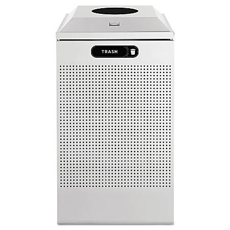 Rubbermaid® Commercial Silhouette Waste Receptacle, 29 Gallons, Silver