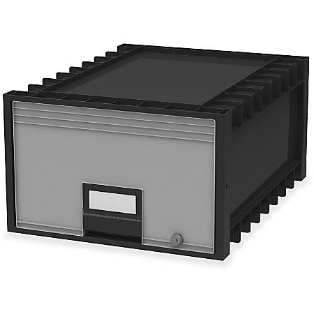 "Storex Archive Storage Box - External Dimensions: 18.3"" Length x 11.5"" Width x 24.4"" Height - Heavy Duty - Stackable - Black, Gray - For Storage - Recycled - 1 Each"