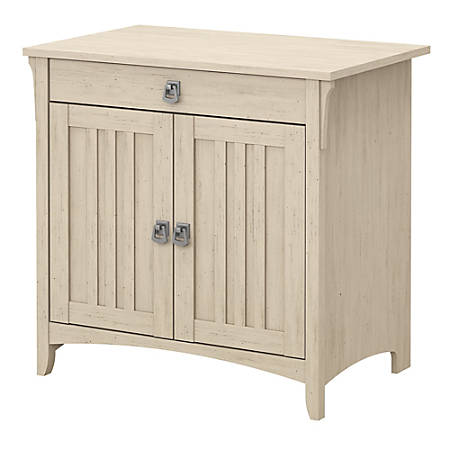 """Bush Furniture Salinas 32""""W Secretary Desk With Keyboard Tray And Storage Cabinet, Antique White, Standard Delivery"""