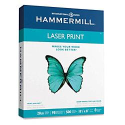"Hammermill® Laser Pro Paper, Letter Size (8 1/2"" x 11""), 98 (U.S.) Brightness, 28 Lb, White, 500 Sheets"