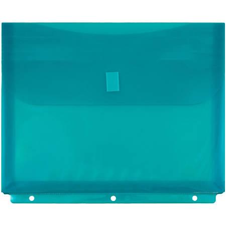 """JAM Paper® Plastic Binder Envelopes With Hook-And-Loop Fastener, 8 5/8"""" x 11 1/2"""", Teal, Pack Of 12"""