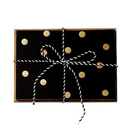 "Sincerely A Collection by C.R. Gibson® Baker's Twine Note Cards With Envelopes, 4 1/4"" x 6"", Black/Gold Dot, Blank Inside, Bag Of 8"