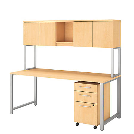 """Bush Business Furniture 400 Series Table Desk With Hutch And 3 Drawer Mobile File Cabinet, 72""""W x 30""""D, Natural Maple, Premium Installation"""