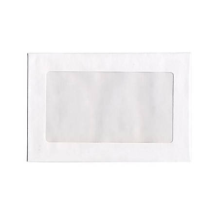 "JAM Paper® Single Window-Display Booklet Envelopes With Gummed Closure, 6"" x 9"", White, Pack Of 25"